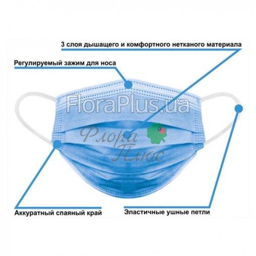 Маска медицинская трёхслойная с фильтром (мельтблаун), маска хирургическая с фильтром и зажимом для носа