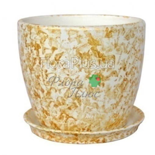 Горшок с подставкой Осень мрамор золото