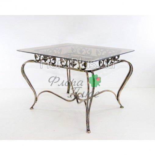 Стол прямоугольный стекло кованый